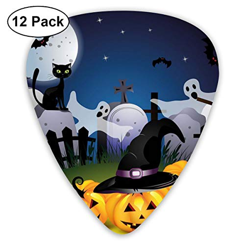 (Celluloid Guitar Picks - 12 Pack,Abstract Art Colorful Designs,Funny Cartoon Design With Pumpkins Witches Hat Ghosts Graveyard Full Moon Cat,For Bass Electric & Acoustic Guitars.)