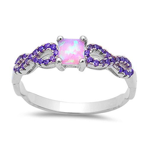 Cut Pink Amethyst Ring (Crisscross Infinity Ring Princess Cut Lab Created Pink Opal Pave Simulated Amethyst 925 Sterling Silver)