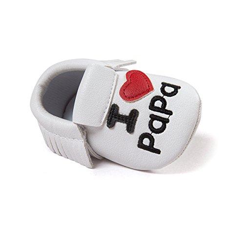 R & V 0–18M unisex bebé Mocasín I Love Mama Papa suave suela sintética borla zapatos de bebé perwalker 6colores negro negro Talla:11cm/ 4.25in blanco