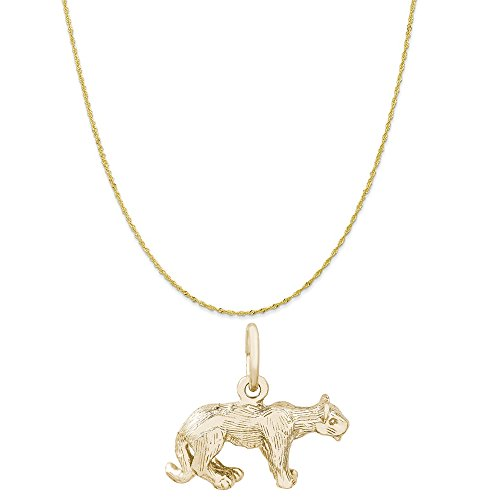 Rembrandt Charms 10K Yellow Gold Cougar Charm on a 10K Yellow Gold Twist Curb Chain Necklace, 20