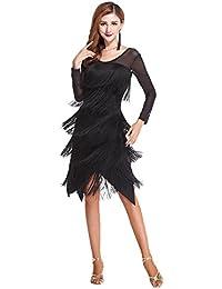 Z&X Black Round Neck Long Sleeve Tassel Split Latin Dance Dress with Shorts