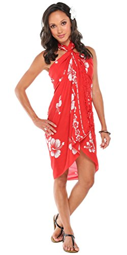 ns Hibiscus Flower Cover-Up Sarong in Red/White (Hibiscus Sarong Dress)
