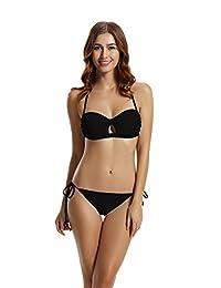 Zeraca Women's Tie Side Pantie Bandeau Bikini Set