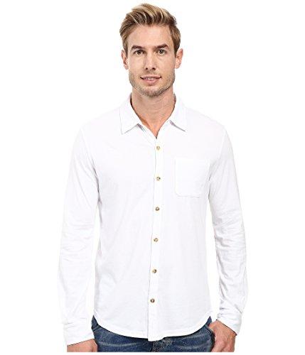 - Mod-o-doc Summerland Knit Long Sleeve Jersey Button Front Shirt White Men's Long Sleeve Button Up