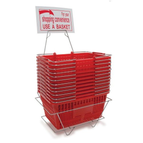 Pack of 12 Red Shopping Baskets Set with Stand 8 1/2'' H x 11 7/8'' W x 16 5/8'' L by shopping basket