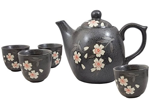 Happy Sales HSTS-WPB08, Japanese Design Black Porcelain Tea set White & Pink Blossom Sakura Cherry Blossom