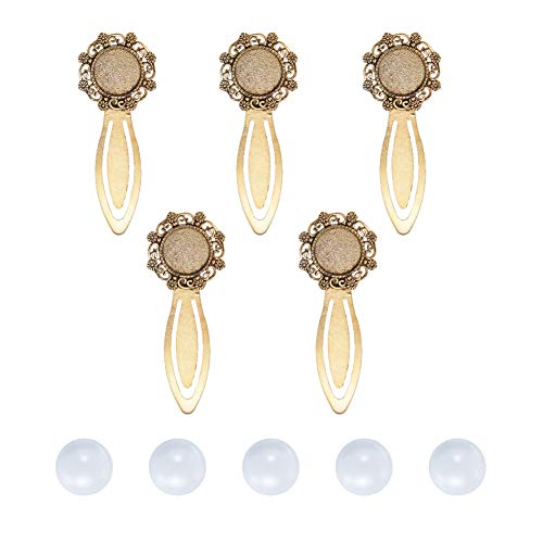 Pandahall 5 Sets Antique Golden 18mm Clear Domed Glass Cabochon Cover and 79x30mm Bookmark Cabochon Settings for DIY Alloy Portrait Bookmark Making