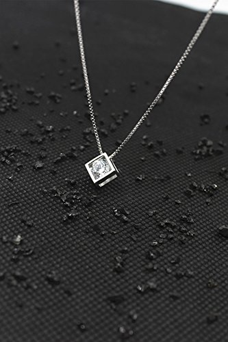 Diamond Square Necklace - Love Cube s925 Sterling Silver Necklace Pendant (Square Diamond with 40 cm