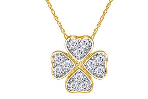 Wishrocks 0.14 cttw Round Natural Diamond Four Leaf Clover Fancy Pendant Nacklace In 10k Yellow - Pendant Gold 9k