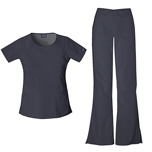 Cherokee Workwear Round Neck Top 4824 and Cherokee Workwear Drawstring Pant 4101 (Pewter - - V-neck Scrub Top Curved
