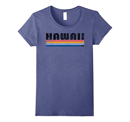 Womens Vintage 1980S Style Hawaii T Shirt Small Heather Blue