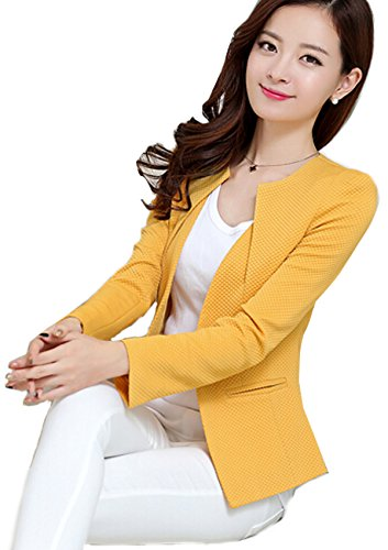 Autumn Outwear Women Slim Casual OL Short Suit Coat Jacket (Black) - 6