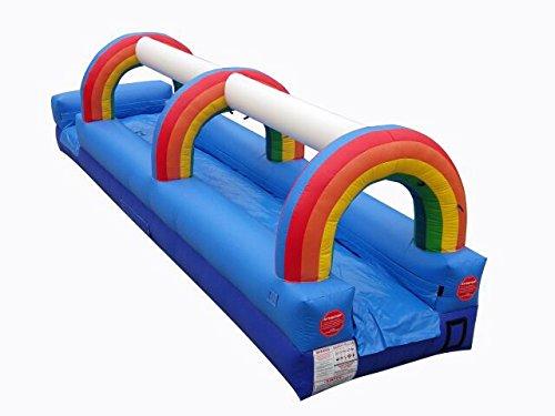 TentandTable 25-Foot Splish Splash Super Soaking Rainbow Slip-N-Slide Adventure, Commercial Grade, 1.0 HP Blower Stakes Included