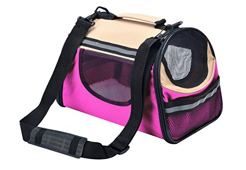 BINGPET Soft Sided Dog Carrier Personalized Cat Pet Travel Tote Bag Pink & Beige Small