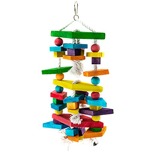 YINGGE Large Bird Toys with Cotton Rope and Bells, Wooden Parrot Chewing Biting Hanging Toys for Medium and Large Parrots, Sun Conures, Caique, Cockatoo, African Grey, Macaws, Amazon