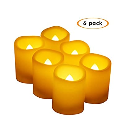 """Realistic Flickering Votive Electric Candles,Flameless LED Votive Candles with Timer,Size 1.5""""(D) x2""""(H) 400+ Hours Battery Life(6Pack)"""