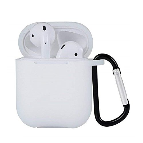Headphones Wh Portable White (ZALU Compatible for AirPods Case with Keychain, Shockproof Protective Premium Silicone Cover Skin for AirPods Charging Case (White))