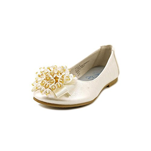 Girls Flats with Crystal Bead Bow (9, Ivory) -