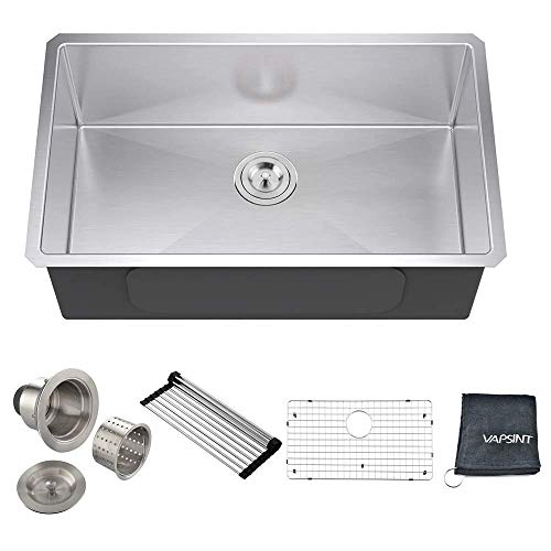 VAPSINT Commercial 30 Inch 18 Gauge Handmade Drop In Undermount Single Bowl Stainless Steel Kitchen Sinks, Complimentary Accessories