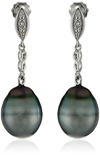 Sterling-Silver-9-95mm-Tahitian-Cultured-Black-Pearl-and-Diamond-Drop-Earrings