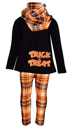 Unique Baby Girls 3 Piece Trick or Treat Plaid Halloween Outfit (5) (Black And Orange Outfit For Halloween)