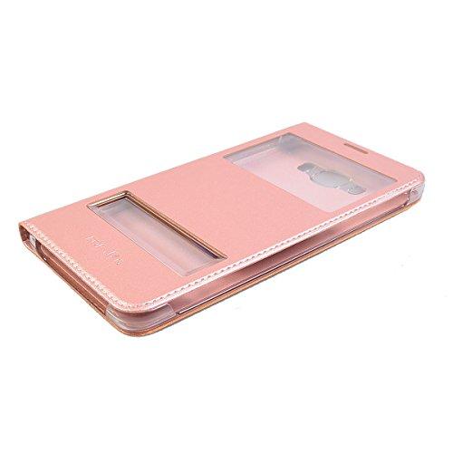 Galaxy J7 (2016) 5.5 Funda,COOLKE Ultra Delgado Diseño de ventana Flip Funda Con Soporte Plegable Carcasa Funda Tapa Case Cover para Samsung Galaxy J7 (2016) 5.5 - Negro Rose Oro