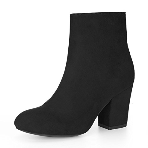 Allegra Boot (Allegra K Women's Round Toe Side Zip Block Heel Ankle Boots (Size US 10) Black)