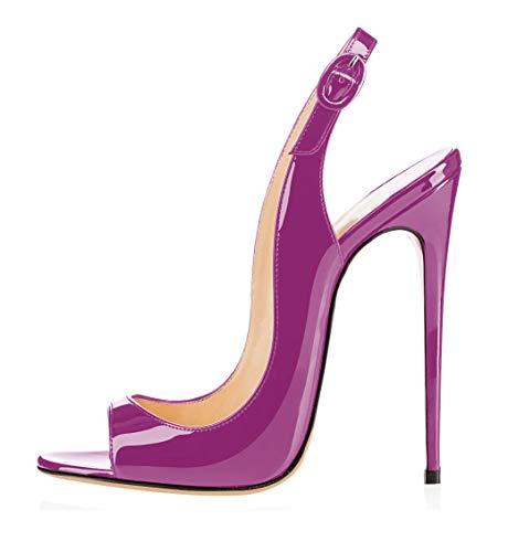 Sammitop Women's Slingback Sandals High Heel Open Toe Evening Dress Shoes Purple Size US13