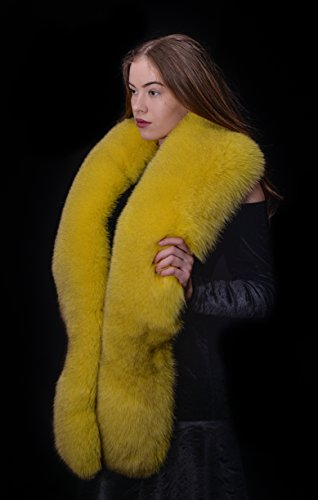 Saga Furs Yellow Lemon Blue Fox Fur Handmade Shoulder Wrap Scarf Boa Stole by Your Furrier