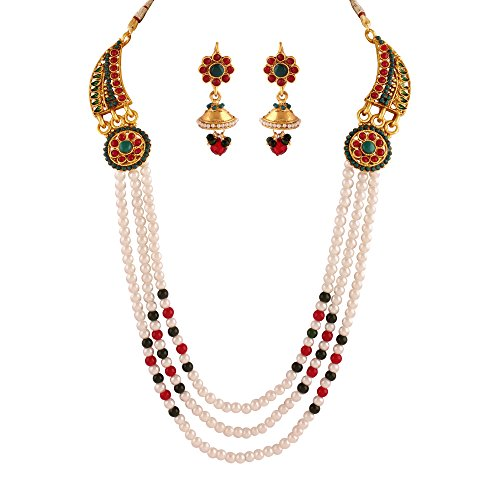 Variation Multi Liner Pearl Gold Plated Jewelry Necklace Set For Women - VD15408