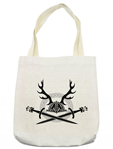 Lunarable Antler Tote Bag, Hat with Deer Antlers Viking Culture Celtic Circle Medieval Barbarian Theme, Cloth Linen Reusable Bag for Shopping Groceries Books Beach Travel & More, (Female Barbarian Costume Ideas)