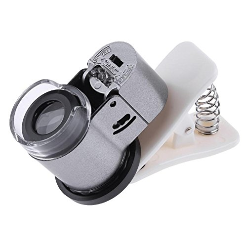 High Five Store Universal 65X Zoom Clip-on Microscope LED UV Light Clip-On Camera Magnifier Micro Lens for Phone NEW ()