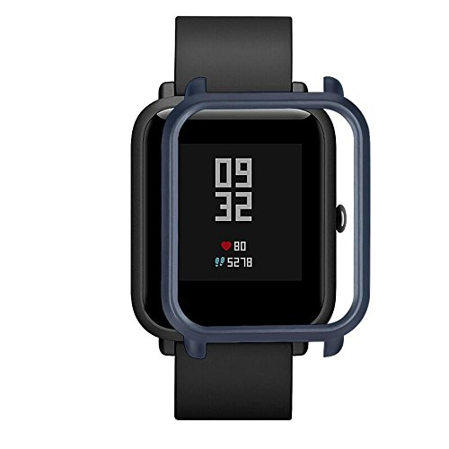 OUBAO PC Case Thin Cover Protect Colorful Shell for Xiaomi Huami Amazfit Bip Youth Watch Screen Protector Case Full 360 Protection Gel Bumper Cover (Navy) by OUBAO (Image #2)