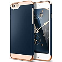 iPhone 6S Case, iPhone 6 Case, Caseology [Savoy Series] Slim Two-Piece Slider [Navy Blue] [Chrome Rose Gold] for Apple iPhone 6S and iPhone 6 - Navy Blue