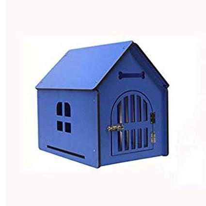 Lijin light Pequeño Azul Perrera de Madera Maciza Perros Grandes y medianos Perros al Aire Libre