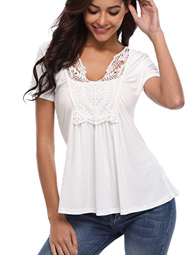 MISS MOLY Women's Short Sleeve Shirt V Neck Ruched Pleated Front Casual Lace Tops Blouse White L