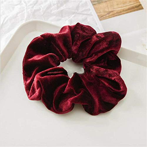 Flannel Head Rope Intestine Band Elastic Band Ring Ponytail Head Rope Sturdy QP (Color - Wine red) ()