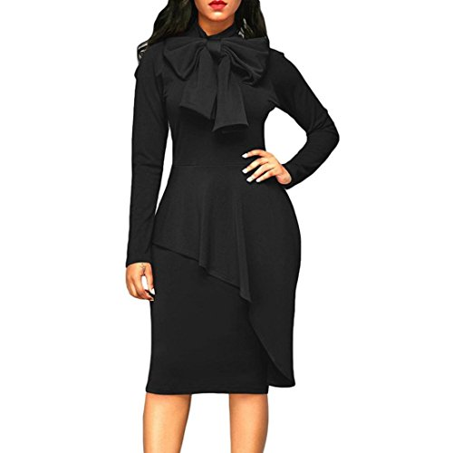 Kangma Womens Tie Neck Peplum High Waist Long Sleeve Bodycon Dress (Yellow And Gray Maxi Dress)