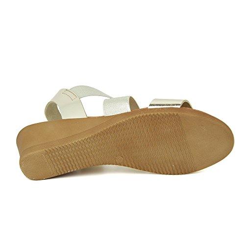 Sandalia Minicuña En Piel y Elastico Platino Platino