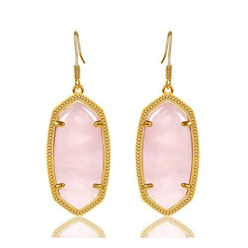 (Fashion Metal Oval Crystal Quartz Drop Dangle Earrings for Women (Gold(Rose Quartz)))