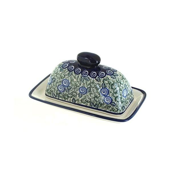 Blue Rose Polish Pottery Seaside Swirl Butter Dish
