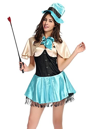Bigood Women Lady Circus Cosplay Costume Magician Party Outsuit Fancy Dress (Circus Magician Costume)