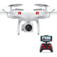 Ounice WiFi FPV Live RC Drone with Wide Angle Lens HD Camera, FPV Real Time Transmission 4CH RC Quadcopter with Altitude Hold 6 Axis Gyro RC Quadcopter (White)