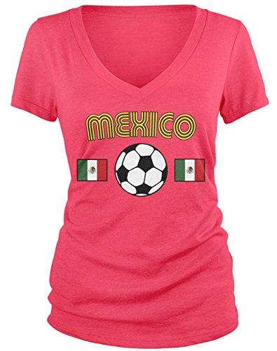 Amdesco Junior's Mexico Soccer, Love Mexican Futbol Football V-Neck T-Shirt, Azalea - Cup Azalea