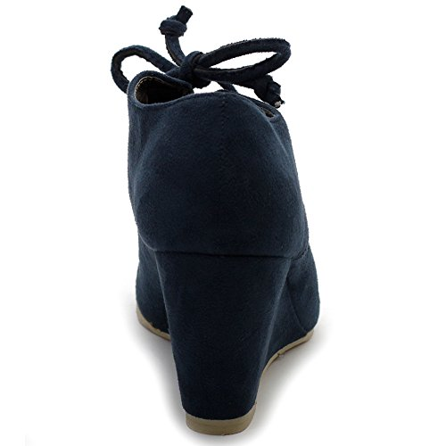 Ankle Navy Wedge Faux Suede Lace Fashion Heel Shoe Ollio Up Boot Women's wPgFnRxqF0