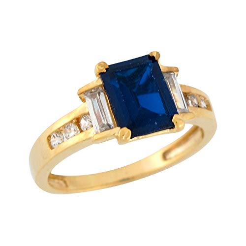 - 14k Yellow Gold Simulated Blue Sapphire White CZ Modern Ladies Cocktail Ring