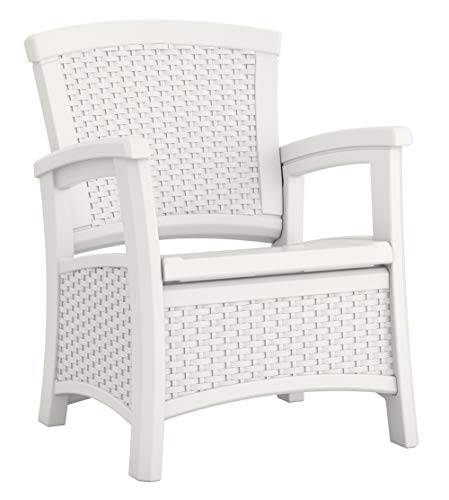 Suncast Elements Club Chair with Storage - Lightweight, Resin, All-Weather Outdoor Storage Chair - Built in Storage Capacity up to 11 lbs. - White (Chairs Resin Wicker)