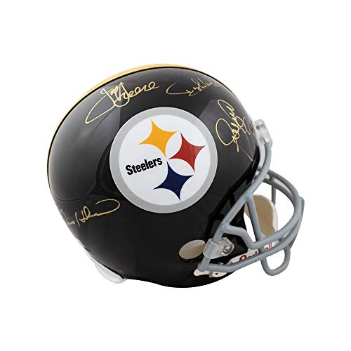 (Steel Curtain Autographed Steelers Full-Size Football Helmet Field of Dreams COA)