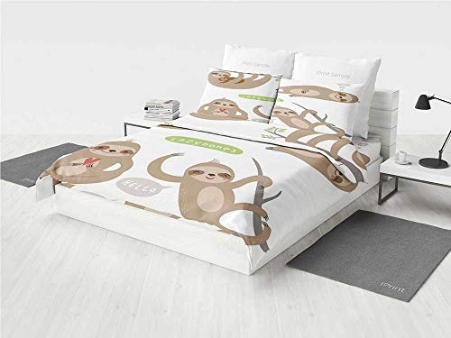 edding Set Childish Collection of Funny Cute Lazy Sloths Hugging Family Romance Love Decorative Printing Four Pieces of Bedding Set Light Brown Grey Green ()