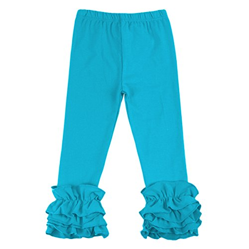 (Little Girl's Double Icing Ruffle Leggings Toddler Girl Triple Cotton Boutique Elastic Waist Slacks Joggers Activewear Blue)